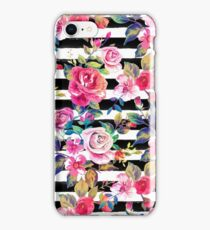 Cute spring floral and stripes watercolor pattern iPhone Case/Skin