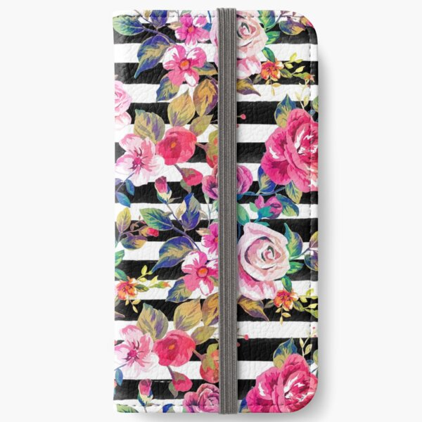 Cute spring floral and stripes watercolor pattern iPhone Wallet