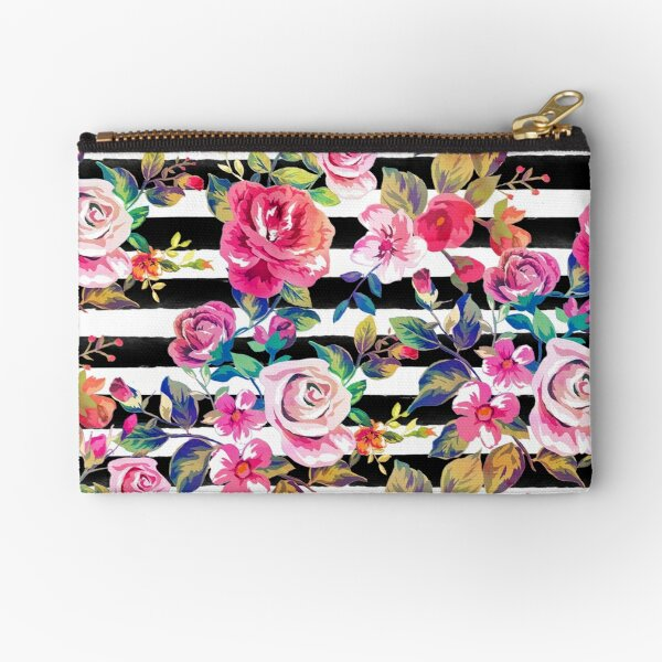 Cute spring floral and stripes watercolor pattern Zipper Pouch