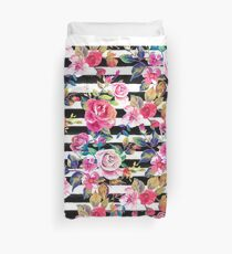 Cute spring floral and stripes watercolor pattern Duvet Cover