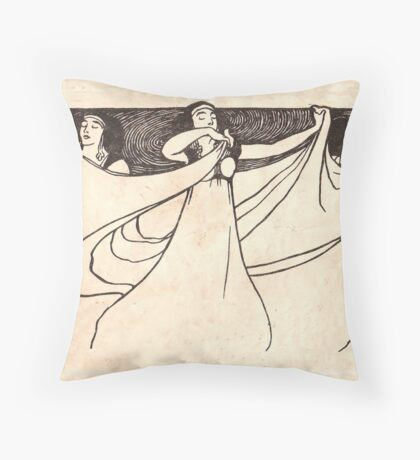ladies art noveau Throw Pillow