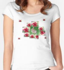 Flower Bunny Rabbit in Red Women's Fitted Scoop T-Shirt