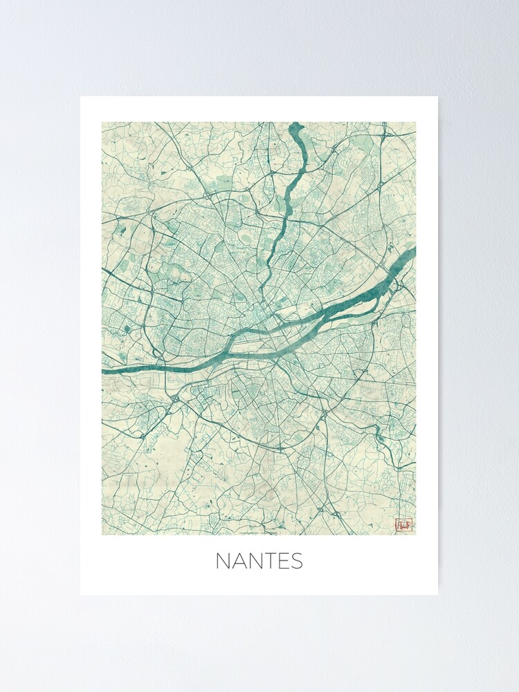 Alternate view of Nantes Map Blue Vintage Poster