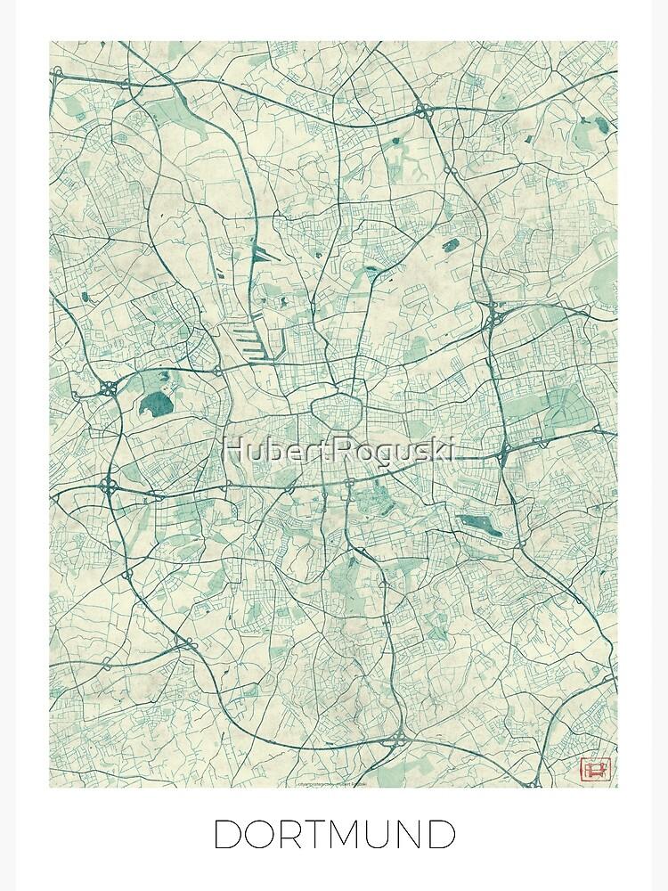 Dortmund Map Blue Vintage by HubertRoguski