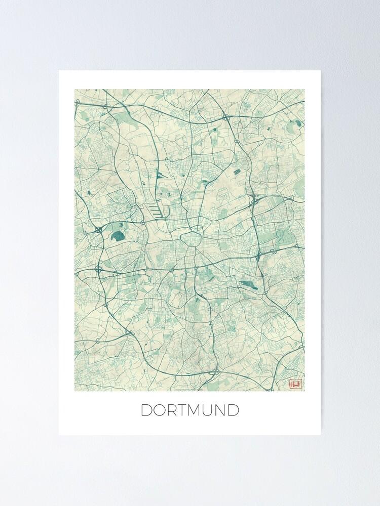 Alternate view of Dortmund Map Blue Vintage Poster