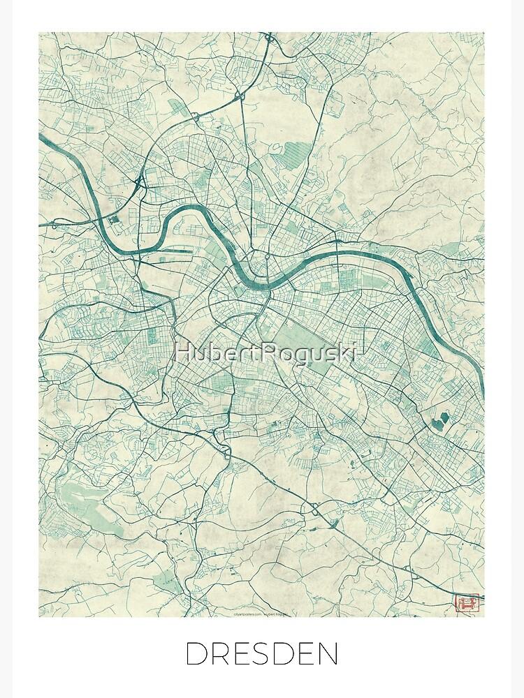 Dresden Map Blue Vintage by HubertRoguski