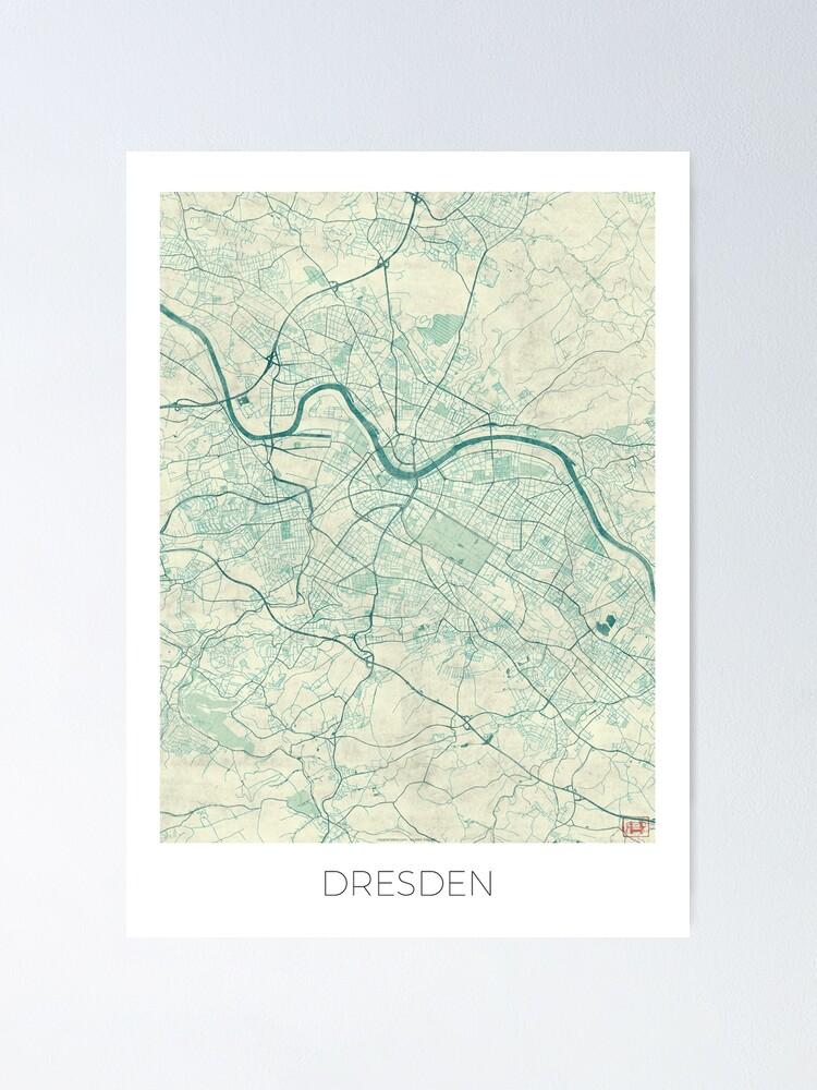 Alternate view of Dresden Map Blue Vintage Poster