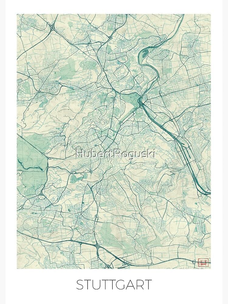 Stuttgart Map Blue Vintage by HubertRoguski
