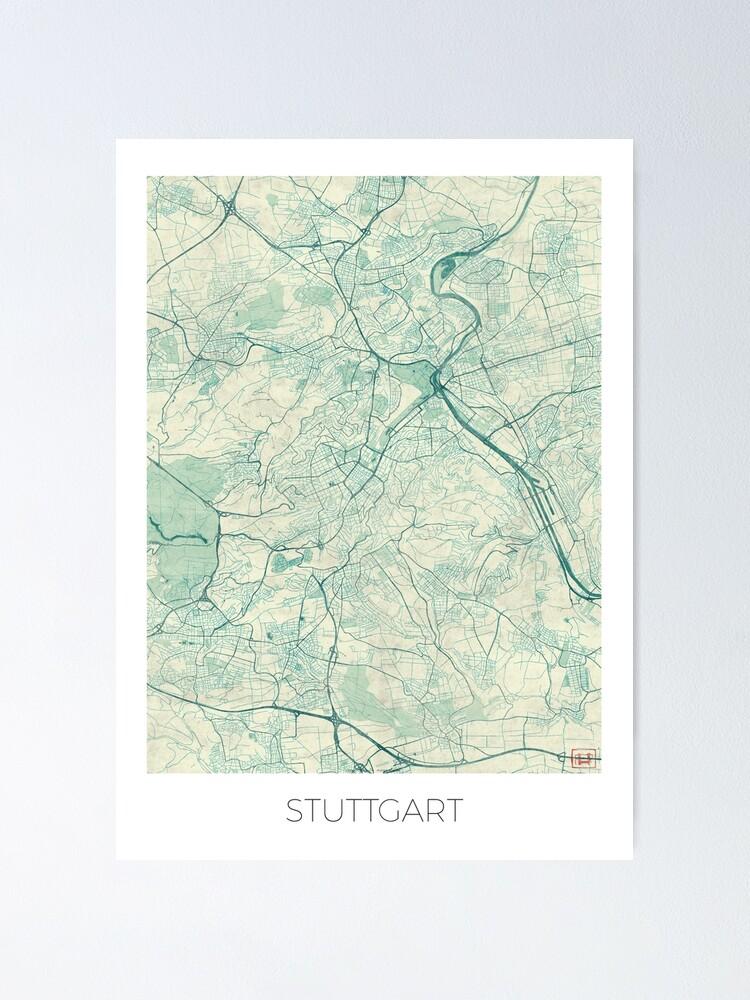 Alternate view of Stuttgart Map Blue Vintage Poster