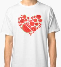 Red fruits heart shape. Eco vegan healhy food Classic T-Shirt