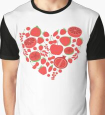 Red fruit and berry vegan heart shape Graphic T-Shirt