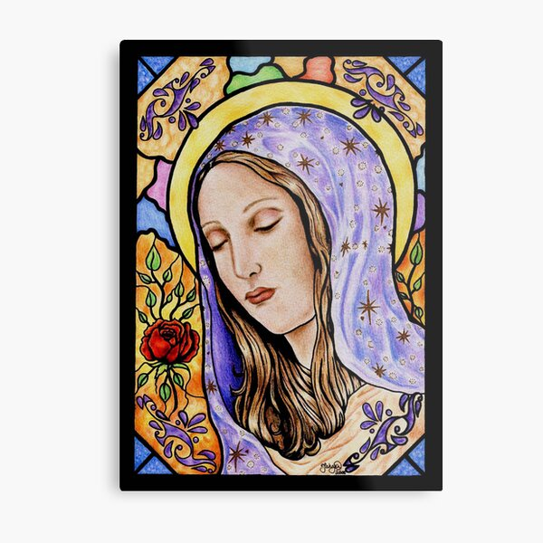 Holy Mother Stained Glass Metal Print