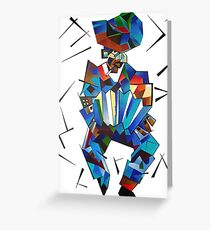 Cubist Portrait of Accordian Player Isolated on White Greeting Card