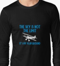 The Sky Is Not The Limit It's My Playground - Funny Airline Pilot Airplane Helicopter Flying Flyer Gift Long Sleeve T-Shirt