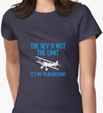 The Sky Is Not The Limit It's My Playground - Funny Airline Pilot Airplane Helicopter Flying Flyer Gift Womens Fitted T-Shirt