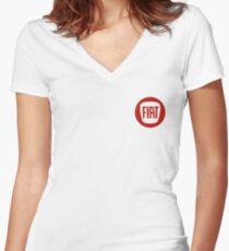 FIAT monochrome logo (red) Women's Fitted V-Neck T-Shirt