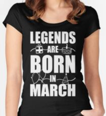Legends Are Born In March (plus Doodle drawings)  Women's Fitted Scoop T-Shirt
