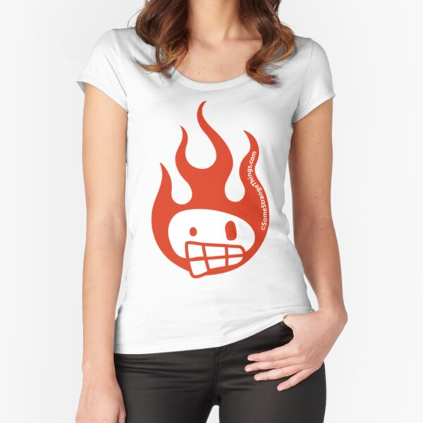 Disenchanted Burning Skull Fitted Scoop T-Shirt