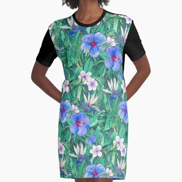 White Bird of Paradise & Blue Hibiscus Tropical Garden Graphic T-Shirt Dress