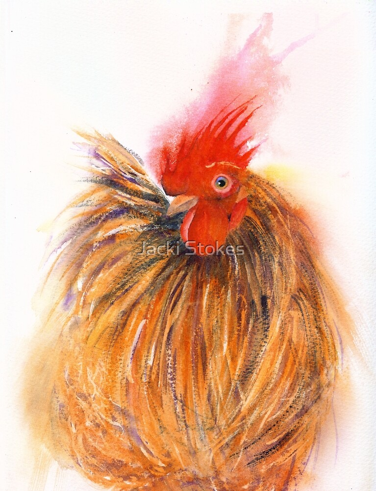 All fluffed up ......and a party to go to (Original painting sold) by Jacki Stokes