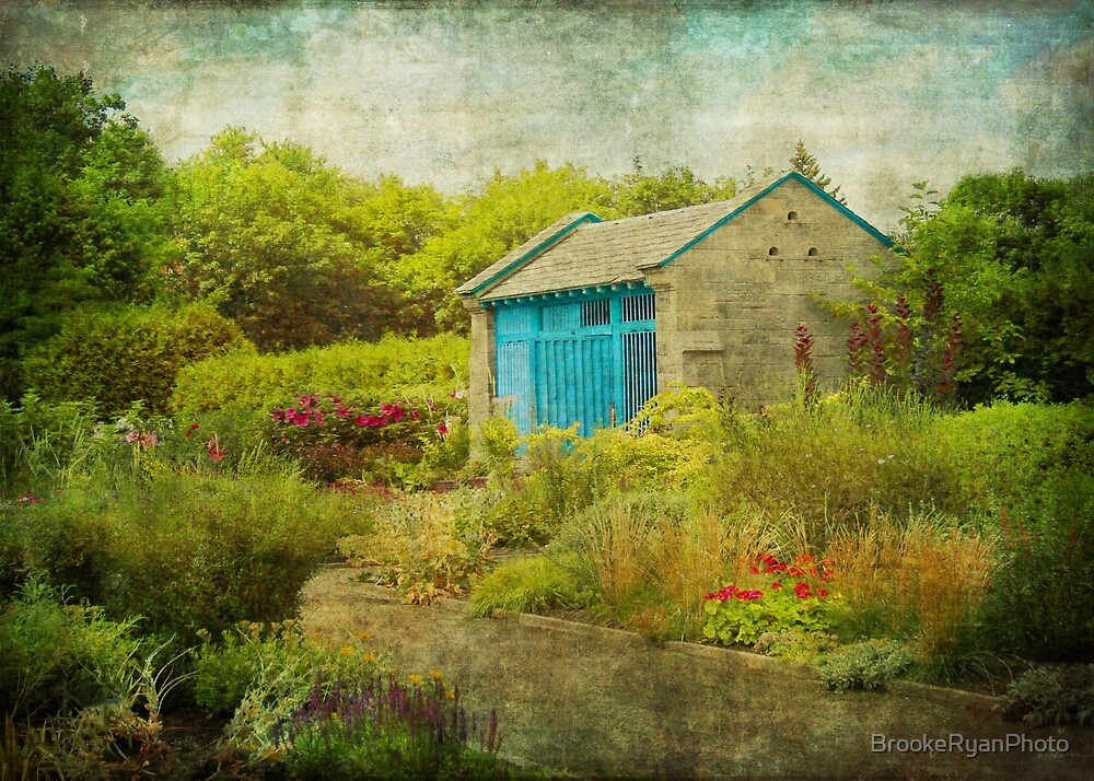 Vintage Inspired Garden Shed with Blue Door by BrookeRyanPhoto