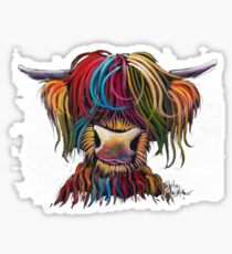 Scottish Hairy Highland Cow ' NELLY ' by Shirley MacArthur Sticker