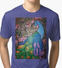Peacock shines on starry sunset  Tri-blend T-Shirt