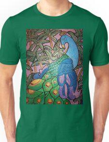 Peacock shines on starry sunset  Unisex T-Shirt