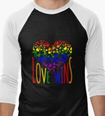 Love Wins, Marriage Equality T-Shirt design. Men's Baseball ¾ T-Shirt