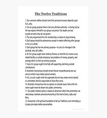 The 12 Traditions (12 Steps Also Available) Link Below in Artists Notes Photographic Print