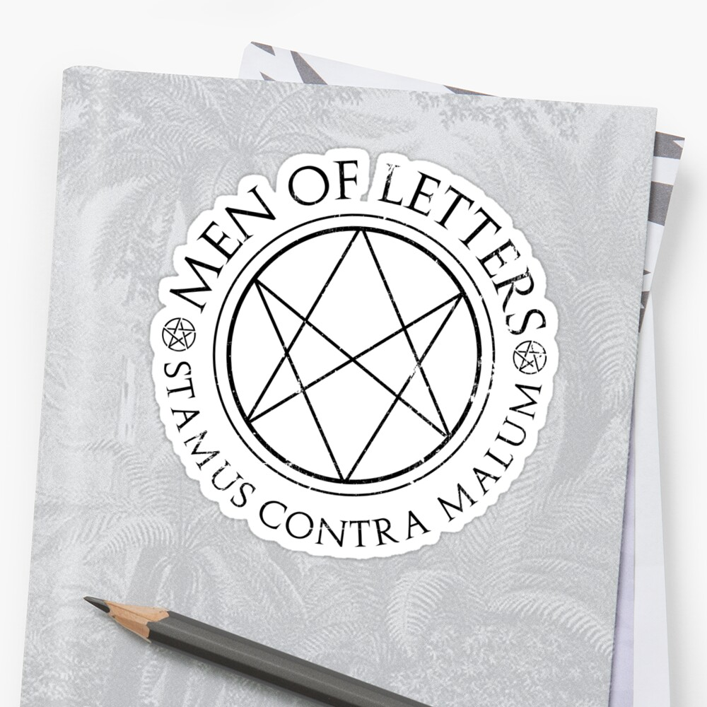 men of letters quot supernatural of letters quot stickers by fixedinpost 23615 | stf,small,600x600 c,0,0,1000,1000