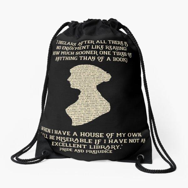 Jane Austen Book quote Pride and Prejudice Drawstring Bag