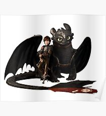 toothless with hiccup Poster