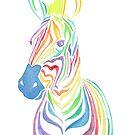 Rainbow Zebra by latheandquill
