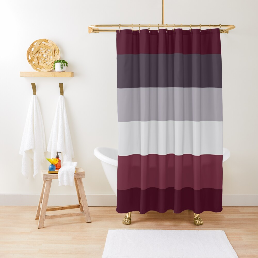 Trendy Winter Colors Ombre Grey Burgundy red plum stripes Shower Curtain