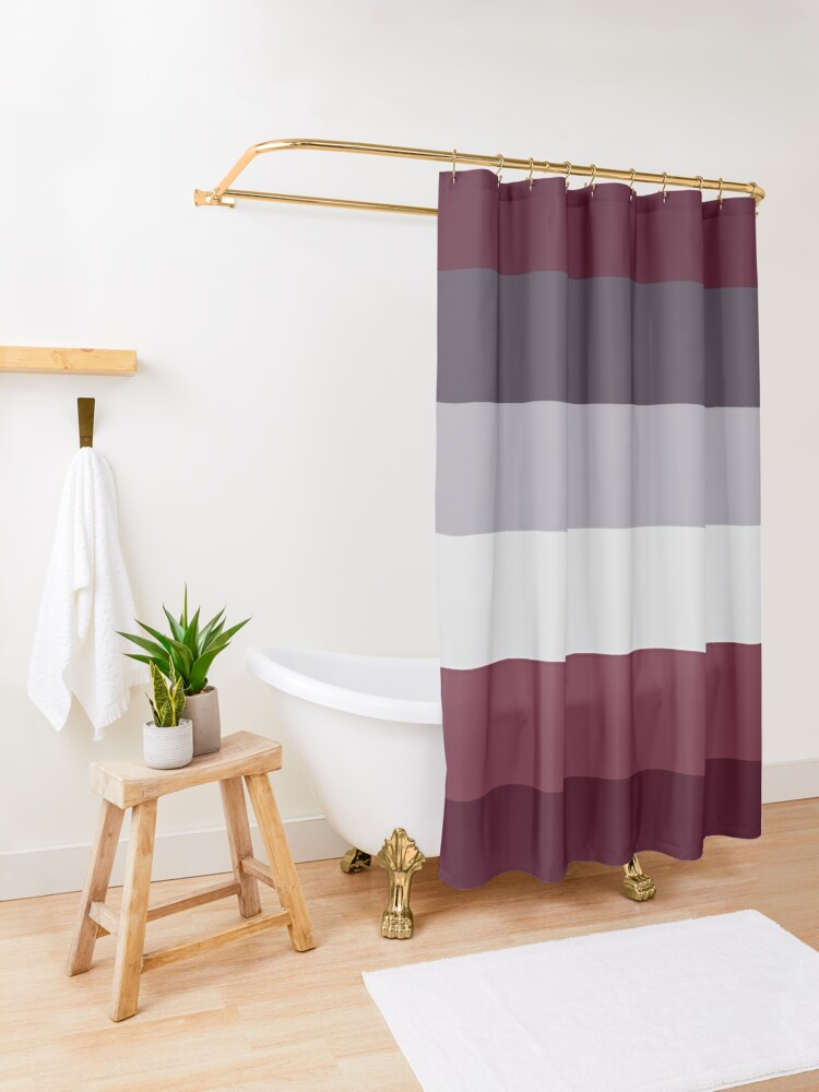 Alternate view of Trendy Winter Colors Ombre Grey Burgundy red plum stripes Shower Curtain