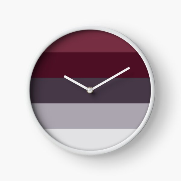Trendy Winter Colors Ombre Grey Burgundy red plum stripes Clock