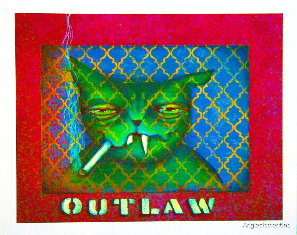NEON OUTLAW - original cat art by ANGIECLEMENTINE by Angieclementine