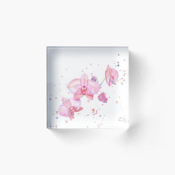 Fleurs d'orchidée à l'aquarelle Bloc acrylique