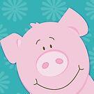 Cute Happy Pig - Aqua by JessDesigns