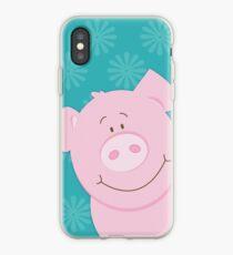 Cute Happy Pig - Aqua iPhone Case