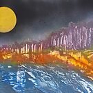 Yellow moon over metamorphic landscape by George Hunter