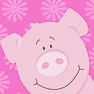 Cute Happy Pig - Pink by JessDesigns
