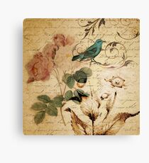vintage bird roses floral botanical art  Canvas Print