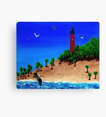 Jupiter Lighthouse Acrylic and Sand Seascape Painting Canvas Print