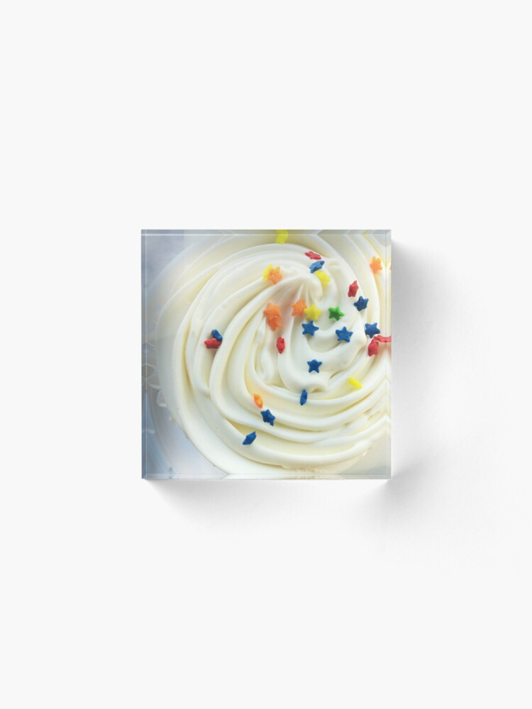 Alternate view of Vanilla Stars and Swirls - Cupcake Lovers - Gift for Baker - Food Blogger Present Acrylic Block