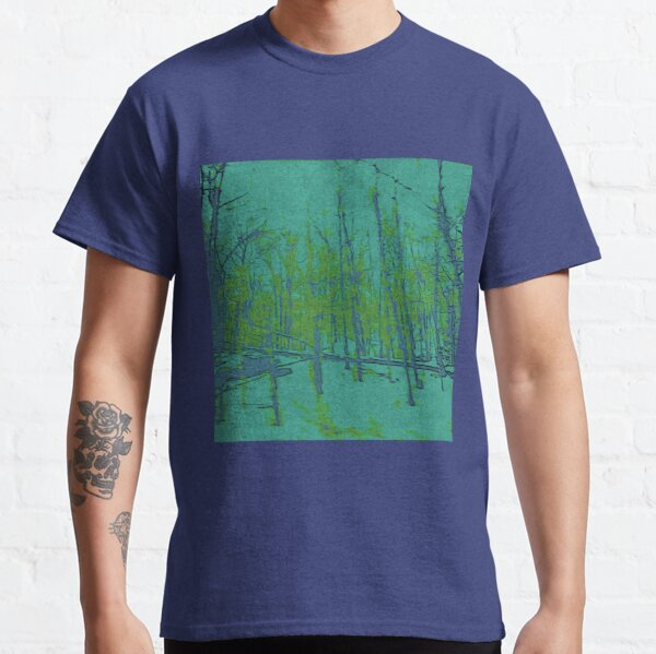Nature Lovers Gift - Into the Woods - Teal Blue Green Abstract Nature Art Classic T-Shirt