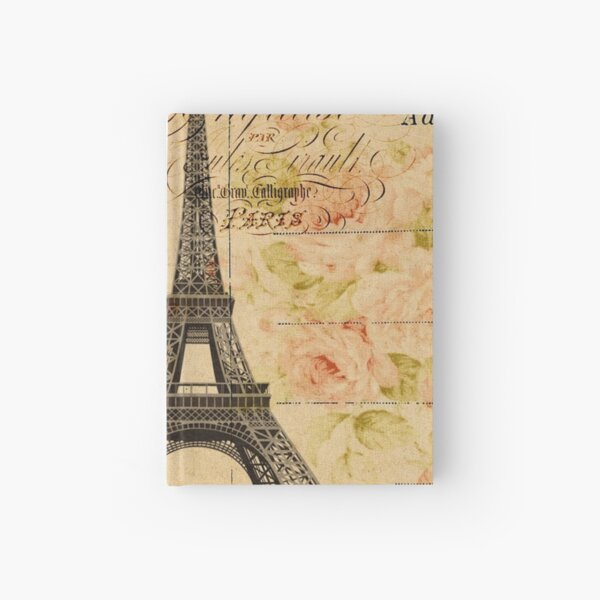 spring garden vintage floral paris eiffel tower Hardcover Journal