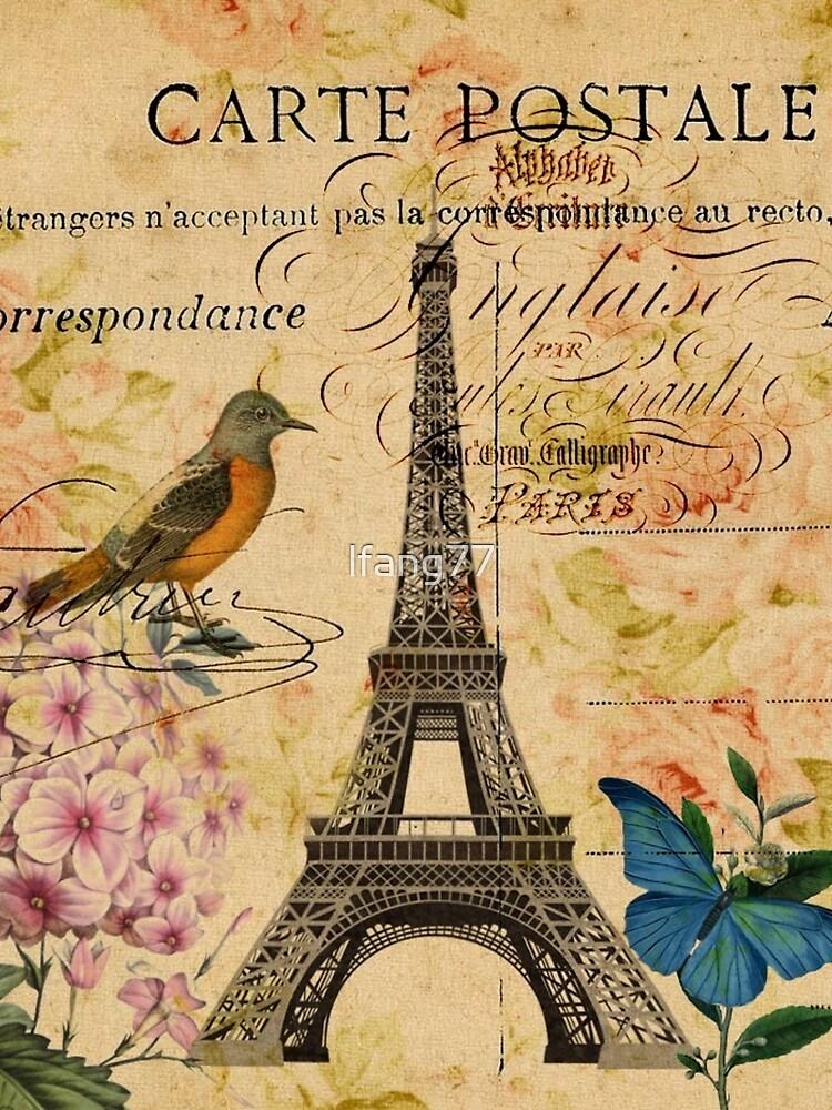 Vogel-Schmetterlingsmode des Vintagen Eiffelturms Blumen von lfang77