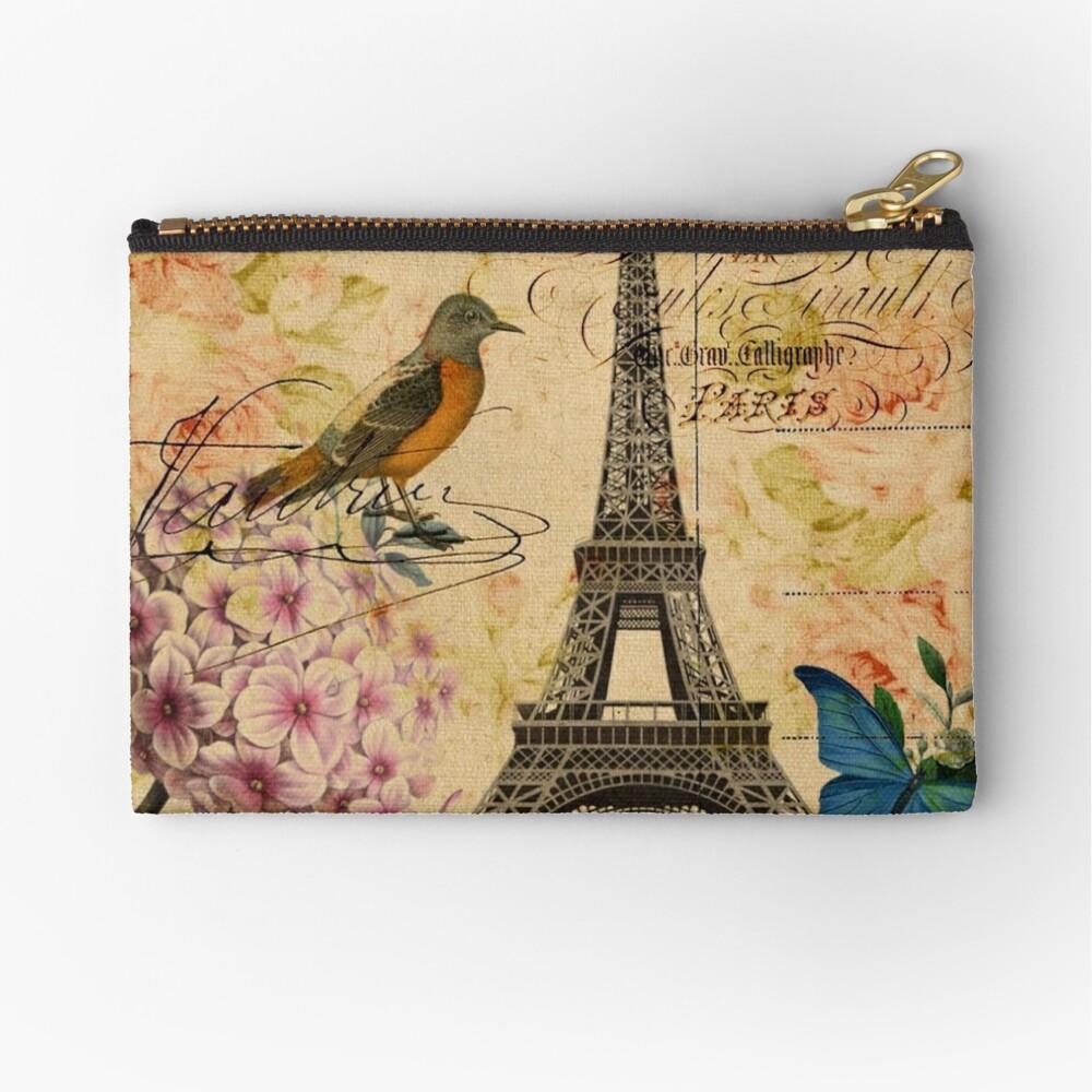 Vogel-Schmetterlingsmode des Vintagen Eiffelturms Blumen Täschchen
